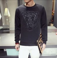 Mens Hoodies Tiger Head Print Pullover Sweatshirts Harajuku ...