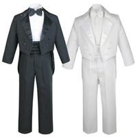 nouveau costume 2018 de costume de garçon de costume de garçon des enfants noirs et blancs robe de queue d'aronde robe de soirée formelle