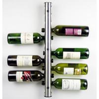 Montado Na Parede De Aço Inoxidável Tubo Rack de Vinho Prateleira Titular De Armazenamento De Vinho Em Casa Bar Wine Organizer Stand Barware