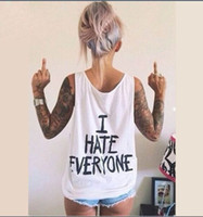 Elliehouse I hate everyone letter printing T- Shirts Tank Top...