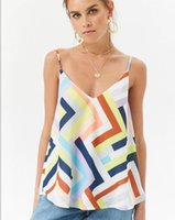 Frauen Sommer Geometrisches Muster Gedruckt Camis Sexy Spaghettibügel Weste Top Schlank Ärmellos V-ausschnitt Casual Tanks Tops