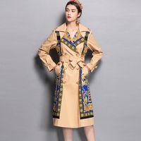 새로운 도착 2020 가을 여성의 노치 칼라 긴 소매 인쇄 새끼 벨트 우아한 패션 디자이너 활주로 트렌치 코트 outwear