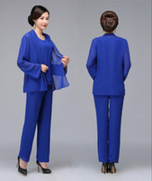 Royal Blue Beaded Mother Of The Bride Pant Suits With Jacket...