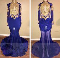 Robes de bal de sirène bleu royal or appliques longues 2019 nouvelle pure robe à manches longues en trou de serrure pour fille noire robes de mariée