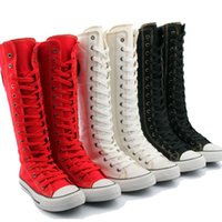 Hot ! girls Zip knee high boots students canvas shoes women ...