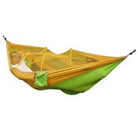 Maximale Last Camping Zelt tragbare gefaltete Reise Dschungel Outdoor Hängematte Nylon hängenden Bett + Moskitonetz Armee grün Camo