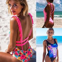 12 Colours Women Swimsuits Ruffle Floral One Piece Swimwear ...