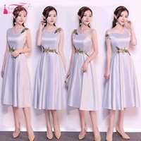Silver Tea- Length Bridesmaid Dresses 4 Styles Satin Wedding ...