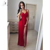 Nouvelles robes de soirée rouges longues devant fendue col en V étage longueur bretelles spaghetti en mousseline de soie robe de fête de bal robe pour Wome