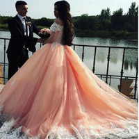 Off Shoulder Lace Applqiues Quinceanera Dresses Pink Sweet 1...