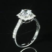 a398643e4be5 Anillo de Flor Femenina de moda 1ct 5A Circón Cz 925 anillo de bodas de  compromiso