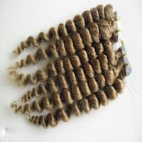 """Extensiones de cabello marrón claro Remy cinta 40pcs / lot onda suelta Trama de la piel máquina de cabello humano Hecho Remy 16 """"18"""" 20 """"22"""" 24 """"pelo transparente adhesivo"""