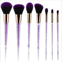 Mais novo 7 pcs Roxo Pincéis de Maquiagem De Cristal Com Escova De Maquiagem Diamante Preto Escova Roxa Cosméticos Set Blusher Fundação BB Creme