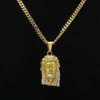 Мужские Хип-хоп Ожерелье Ювелирные Изделия Ожерелье Иисуса Кулон Ожерелья с 70см Золотой Кубинской Цепочкой