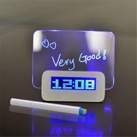 LED bleue fluorescente verte Réveil numérique Message Board USB Hub 4 ports pour la livraison gratuite