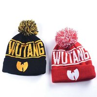 93bbf6d00d3 High Quality Winter Wutang Letter CLAN Musice Beanie Skullies Knitted Women  Wu Tang Hat HipHop Warm pompom Hats Caps Gold C14