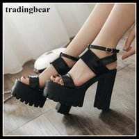 Korea fashion black ankle strappy platform thick high heel s...