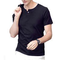 Mens-Sommer-Designer-T-Shirts kurzärmeliger einzelner Knopf-Entwurfs-feste grundlegende T-Shirt T-Stücke