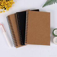 Retro espiral bobina cuaderno de bocetos kraft blanco interior papel en blanco diario diario diario estudiante libretas bosquejo libro para el arte pintura dibujo