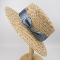 Raffia Straw Women Boater Hats, Female natural straw summer ...