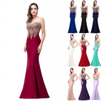In Stock Cheap Mermaid Prom Dresses 2018 Sheer Jewel Neck Lo...