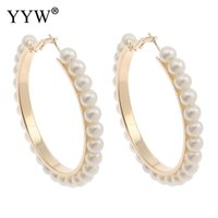hele koop1pair hoge kwaliteit oorbellen imitatie wit zwart parel grote lus cirkel hoepel oorbel groothandel bruiloft sieraden hoepel earrings