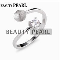 5 Pieces Elegant Classic Style Pearl Ring Mountings 925 Ster...