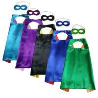 Maske çift katmanlı süper kahraman pelerini ile Cadılar Bayramı Cosplay pelerin 70cm * 70cm toptan saten çocuklar Cosplay giysi lehine