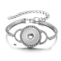 Noosa Chunksスナップブレスレットフィット18mmボタンチャーム合金シルバーCZダイヤモンドの設定ジュエリー