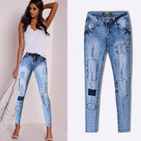 Pop Slim Pencil Pants Women 2018 Stretch Hole Ripped Jeans L...