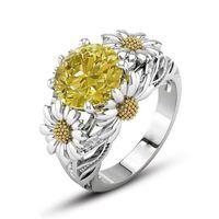Sonnenblume-Ring-Farben-Zircon-Gold überzogener Edelstein-Kristallring High-End-Schmuck-europäische amerikanische Art- und Weisefrauen-Geschenk-Großverkauf 2Color