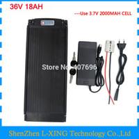 Бесплатная доставка 36 в 18ah батареи 36 в задняя стойка батареи с задний фонарь 30A BMS с 2A зарядное устройство для 36 в ebike батареи