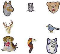 8шт животных комбо серии полосы шитья патча собака сова голубь лось долгосчетной птицы волк медведь патчи для клея вышивка одежда патч ремесло
