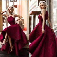 Largo sexy vestido de bola rojo vestido sin mangas del baile de fin de curso 2019 Yousef Aljasmi Hi-Lo Sweety Lace Runway Moda damas formal esmoquin