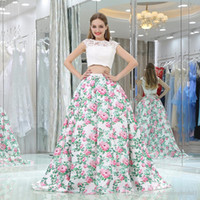 White Lace Flower Two Piece Prom Dresses Cap Sleeve Scoop Ne...