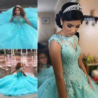 Bleu ciel appliques perlées Tulle Quinceanera robes de bal 2019 Corsage Lace Up dos robes de soirée formelles 8e Grade Junior filles robes de graduation