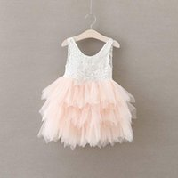 Everweekend Princess Girls Tutu Pizzo Party Dress Ruffles Candy Colore Rosa Beige Viola Party Party Dress Western bambini Cake Dress