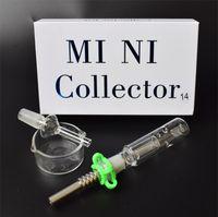 DHL 10mm 14mm 18mm Kit mini collettore congiunto Mini kit Tubi di fumo in vetro Collettore paglia Netto Dab con boccaglio Punta in titanio