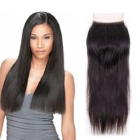 Brazilian Straight Hair Lace Closure Free Middle Three Part ...