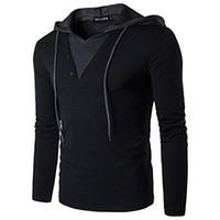 Uomo Casual Slim Fit Manica Lunga T-shirt con cappuccio / Felpe Camicie Uomo Camicie Uomo Slim solido cuciture colore