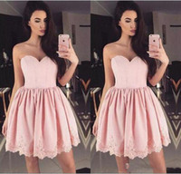 Modern A Line Lace Short Cheap Homecoming Dresses Pink 2018 ...