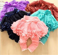 1-7Y New Fashion Neonata Bambini Culottes Leggings Garza Pantaloni Gonne Party Bow Tutu Gonne TO442
