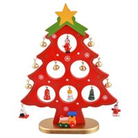 1Set XMAS Gift Wooden Christmas Tree DIY Table Decor Christm...