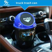 اللون مصغرة سلة المهملات لمعظم حامل الكأس سيارة التصميم الغبار القمامة القمامة تخزين بن علبة للسيارات السيارة