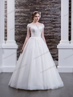 Charming White Tulle Scoop Applique Beads A- Line Wedding Dre...