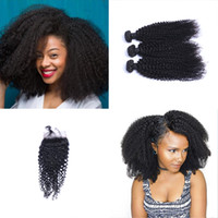 Brazilian kinky Curl Hair Bundles with Closure Free Middle 3...
