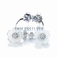 Ajustes de aretes de prisionero Base en blanco Flor de plata esterlina 925 Resultados de la joyería de concha blanca para Pearl Party
