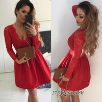 New Arrival Red Satin A Line Cocktail dresses Sexy V Neck La...