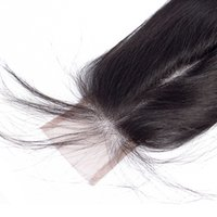 Chiusura peruviana dei capelli umani Chiusura di pizzo 2X6 Capelli lisci peruviani Parte centrale con chiusure per capelli da 10-20 pollici