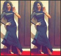 Sheer um mangas compridas vestidos de noite de alta baixo ruched cetim vestido de festa formal sul africano cocktail dress black sereia prom vestidos aw464